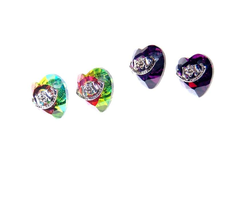 Lot 2 Pair Earrings Studs Watermelon Pink Purple Earrings Heart Shape SilverTone
