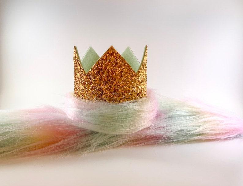 Rainbow Fur Tail Unicorn Clip On Tail Tail to Match Unicorn Crown Faux Fur Unicorn Tail
