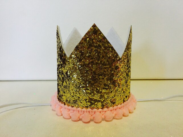 Pink And Gold 1st Birthday MINI Crown Glitter Medium Size