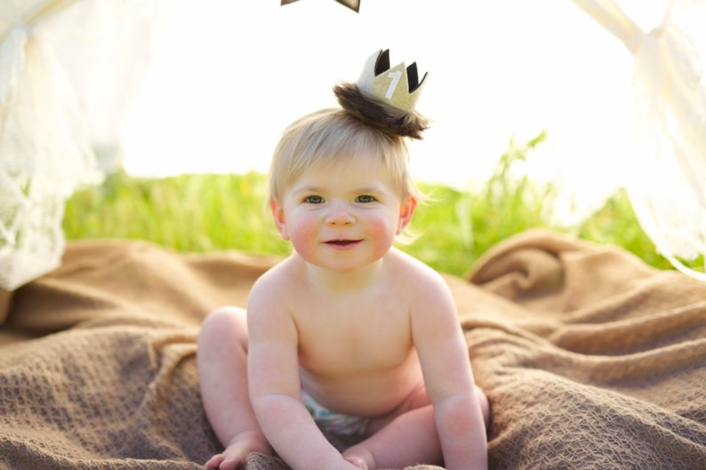 Smash Cake Wild One Wild Things Golden Yellow and Mustard Gold Number Felt Mini Crown Headband Photo Prop First Birthday
