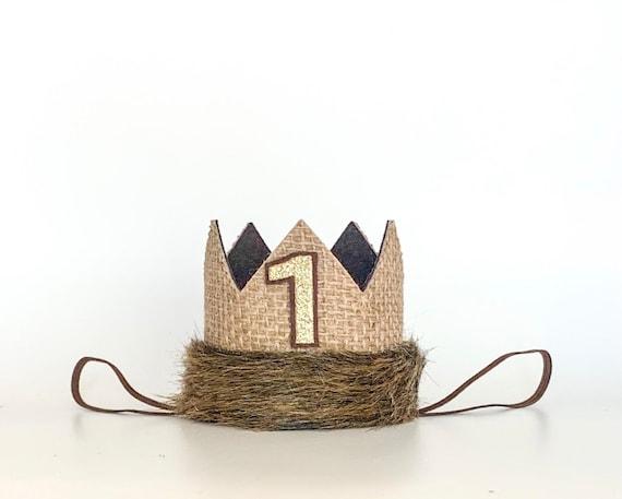 First Birthday Wild One Wild Things Burlap First Birthday Felt Mini Crown Headband Smash Cake Photo Prop