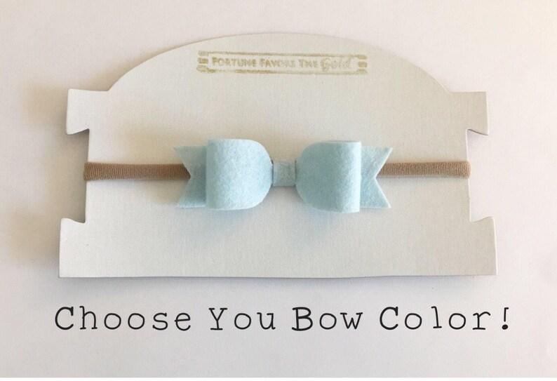 Light Blue Felt Bow Headband Baby Bow Bow Clip Baby Bow Headband Baby Toddler Gir Choose Your Color Bow