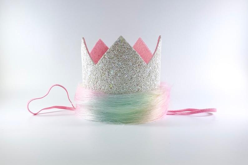 Unicorn Birthday Party Hat Unicorn Birthday Crown Unicorn Fur Crown 1st Birthday Unicorn Outfit Pastel Gold Unicorn Crown