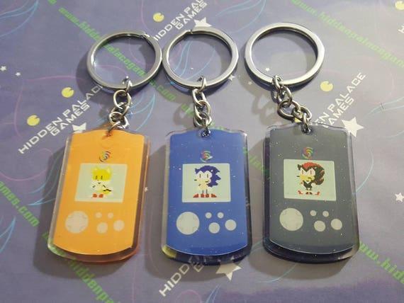 Sonic Tails Knuckles VMU Glitter Keychain SEGAMew Fox Hedgehog  c7ae717af