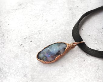 Polished opal necklace • genuine leather choker or short necklace • electroformed in pure copper