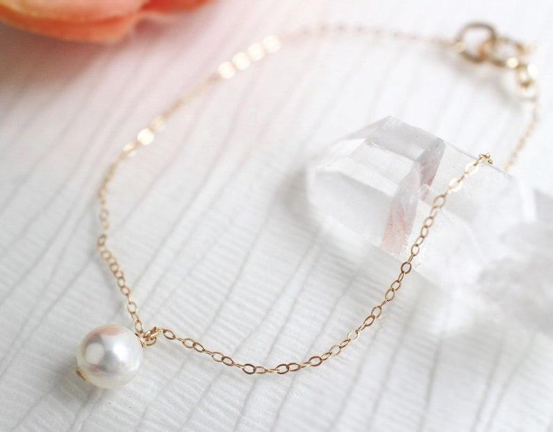 Akoya Pearl Bracelet,Dainty Bracelet,Delicate Bracelet,Pearl Bracelet Gold,Gold Filled Bracelet,Gift For Women,Stacking Bracelet