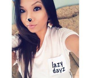 LAZY DAYZ Women's Flowy Pocket Tee / Shirt Mom Women T