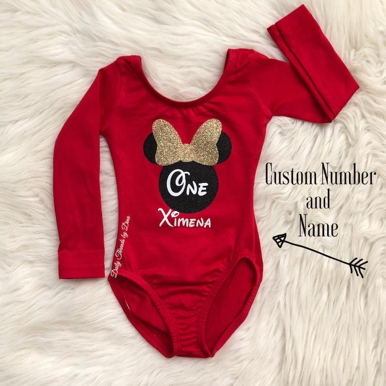 CUSTOM NUMBER and NAME Minnie Mouse inspired Leotard baby kids girls Flutter short long sleeve tank sleeveless Disney Disneyland princess
