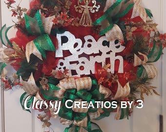 Christmas Wreath, Holiday Wreath, Indoor decor, Outdoor decor, Peace on Earth, Religious wreath, Christian decor