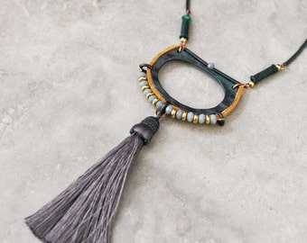Long necklace, tassel necklace, bohemian necklace, gypsy jewelry, pendant necklace, tribal necklace, ethnic necklace, boho necklace