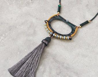 Long necklace, tassel necklace, bohemian necklace, gypsy jewelry, pendant necklace, tribal necklace, ethnic necklace, boho necklace