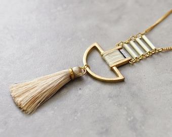 Boho necklace, bohemian necklace, long necklace, pendant necklace, tassel necklace, tribal necklace, gypsy jewelry, gold necklace