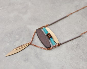 Boho necklace, bohemian necklace, long necklace, pendant necklace, copper chain necklace, tribal necklace, gypsy jewelry, ethnic necklace