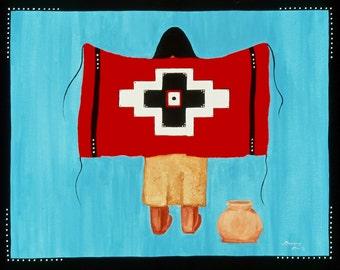 "Acrylic Canvas Painting Original Artwork Native American ""Blanket of Strength"" #2"