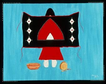 "Acrylic Canvas Painting Original Artwork Native American ""Blanket of Strength"" #3"