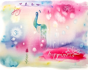 Happiness Joy Peacock Aquarell Druck Print pink blue intuitive