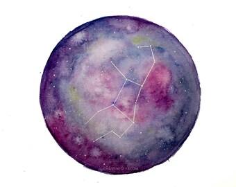 Galaxie Weltall Aquarell Sternbild Jungfrau oder Skorpion