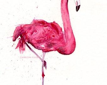 Flamingo Vogel pink Aquarell Druck Print