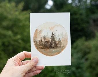 Forest trees mystic landscape Original watercolour artwork
