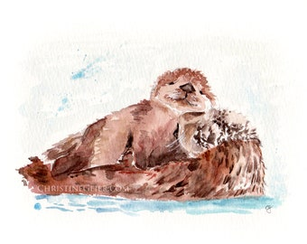 otter animal watercolour original mother with child