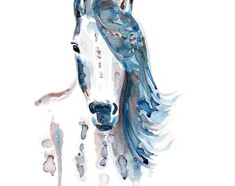 Stute Pferd horse watercolour Aquarell Original Druck Print intuitiv