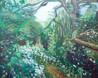 Forestpath forest oil painting Original