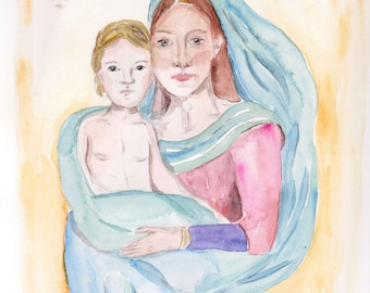mother mary child watercolour painting original