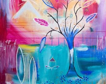 Lebensbaum Pyramide Utopia Acryl Druck Print pink blue intuitive
