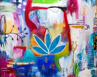 Elefantentraum Lotus Acryl Original Druck Print red blue intuitiv