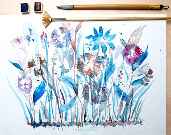 flowers blue and free watercolour painting original