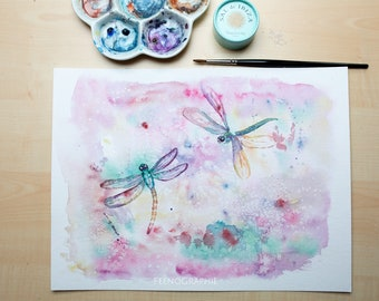 dragonfly watercolour painting original love