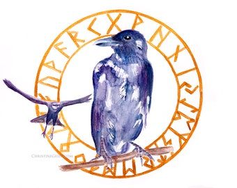 Krähe Futhark watercolour Aquarell Original Druck Print intuitiv