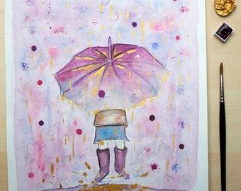 Rainy gold blossom pink watercolour painting original print spring