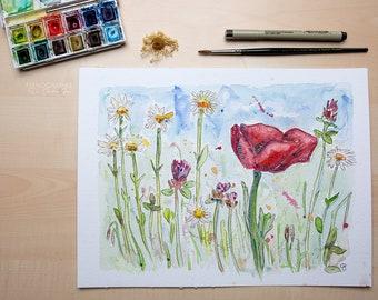 Nature blossom poppy watercolour painting original print spring