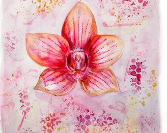 Lotus pink Aquarell Druck Print intuitiv
