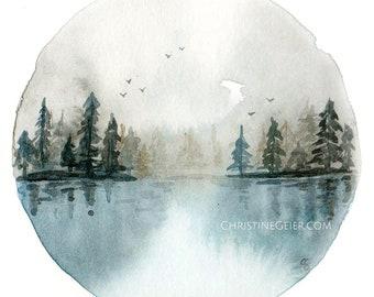 forest lake mirror moon watercolour greeting card print