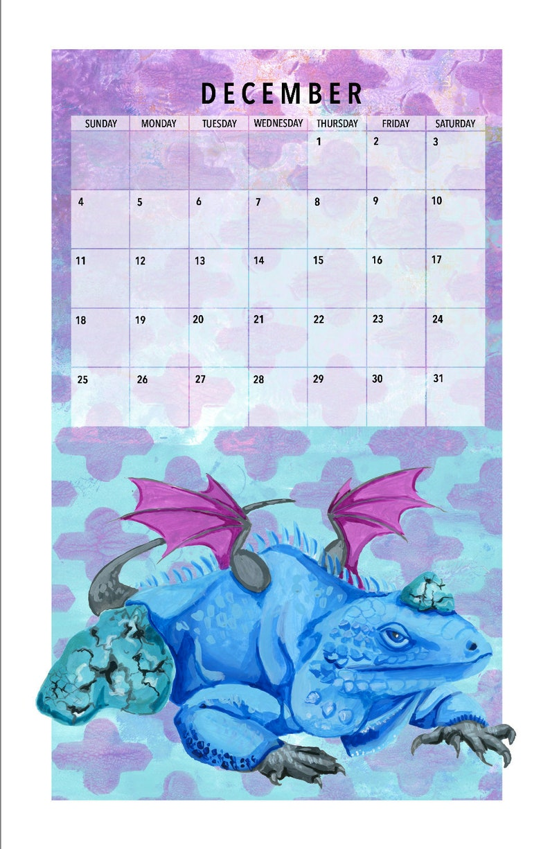 PRE-ORDER: Dragon Hoards Gemstones 11x17 Calendar. image 0