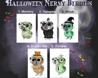 Halloween Nerdy Birdy Cards