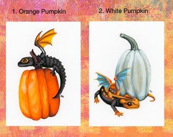Original Paintings: Fall Pumpkin Dragons