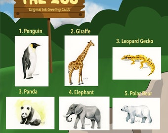 The Zoo: Original Ink Greeting Cards