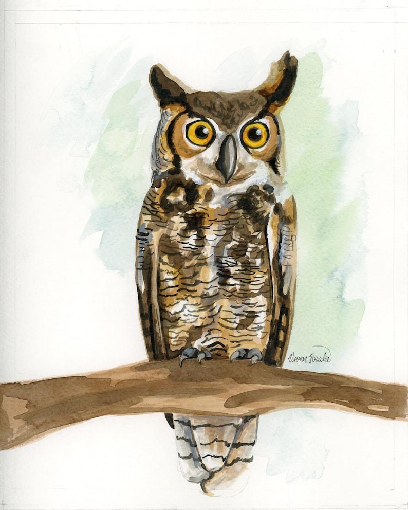 Original Ink Painting: Great Horned Owl image 0