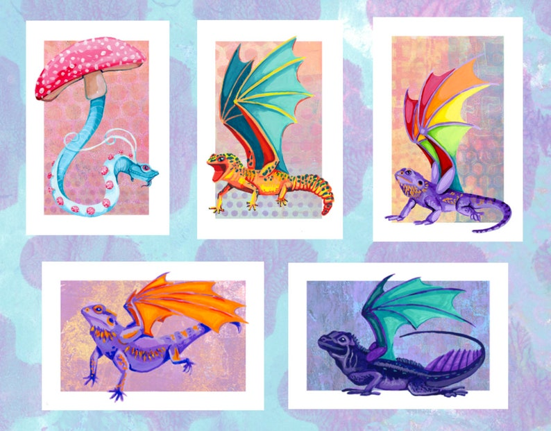Painted Dragons Double Sided Prints image 0