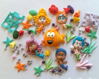 Fondant edible Bubble Guppies cake toppers set Mermaid Under the sea Birthday party Seashells Sea plants Mr Grouper Cupcake topper Cookie