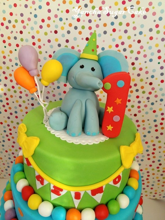 Fondant Edible 3d Elephant Figure Circus Cake Topper Cupcake Age Number Baloons Baby Shower First Birthday Party Boy Gift Favor Christening By Yanchasugarcake Catch My Party