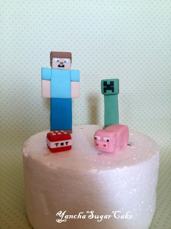 Fondant Edible Minecraft 3d Figures Cake Topper 4 Characters Etsy