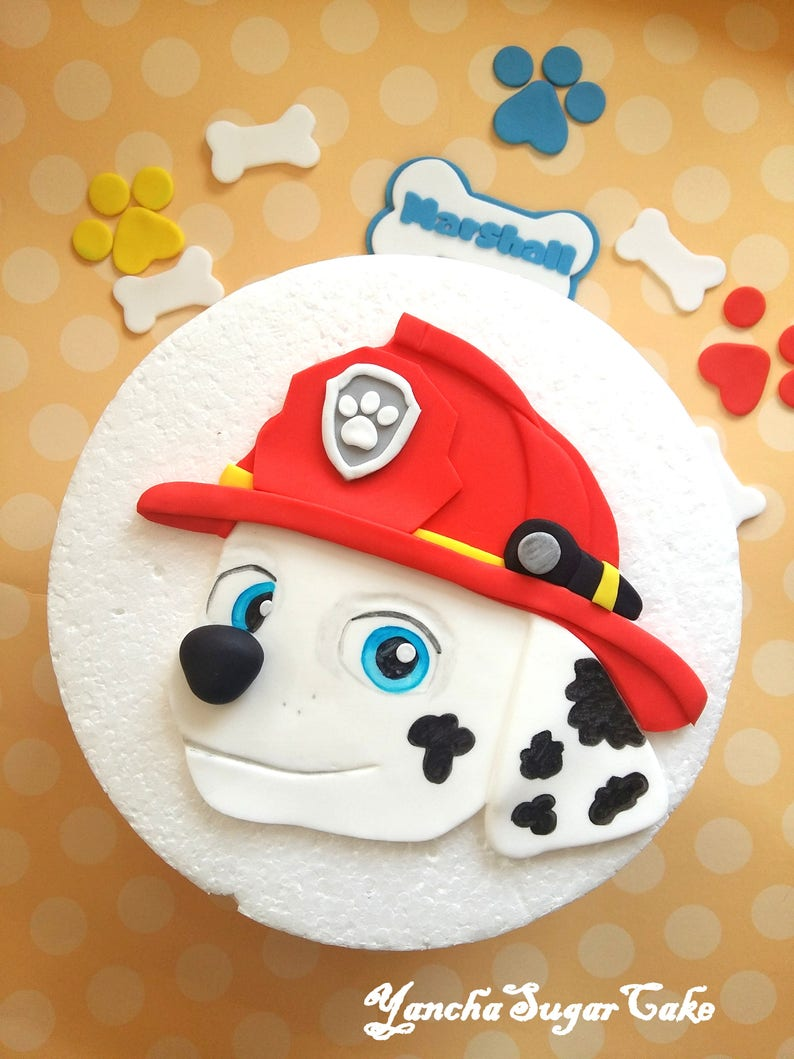 Fondant Edible 2d Cake Topper Marshall Paw Patrol Dog Birthday