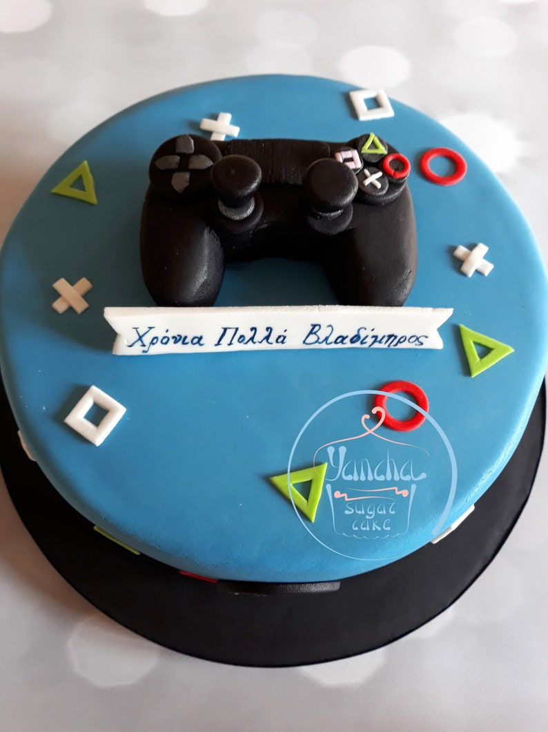 Fondant Edible Playstation Controller Cake Topper Video Games Etsy
