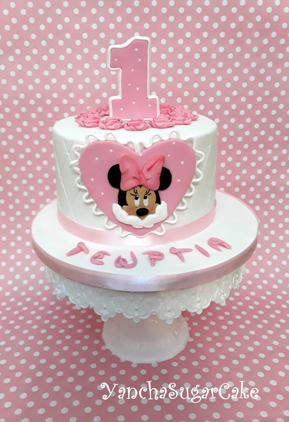 Pleasant Minnie Mouse Fondant Edible 2D Cake Topper Set Baby Girl Shower Funny Birthday Cards Online Inifodamsfinfo