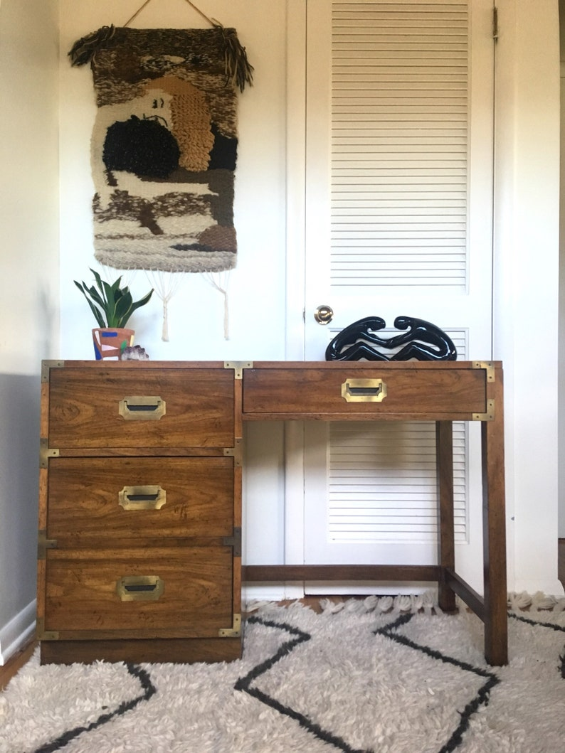 Vintage Campaign Style Desk / Wood Office Desk/ Drexel Style / Local Pick  Up OR Buyer Arranged Shipping