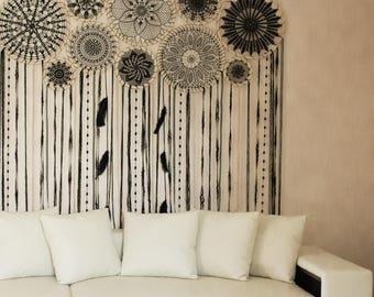 Dream catcher wall hanging, boho chic decor, black dream catcher, large dreamcatcher, crochet dreamcatcher